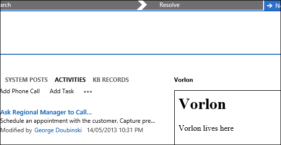 Vorlon host on CRM Form