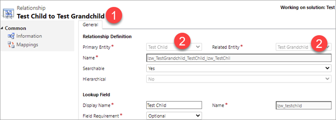 Screenshot of the classic interface for Relationship definition. Information tab is selected. The following screen elements are numbered:  number 1 - Relationship name number 2 - Primary Entity name also number 2 - Related Entity name