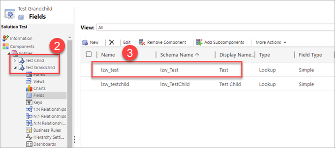 Screenshot of the classic interface for the solution components. Components > Entities node is expanded in the tree, Fields node under the target entity name is selected. The following screen elements are highlighted and numbered:  number 2 - Primary Entity and Related entities under Entities node in the tree. number 3 - mapped target field selected in the list view in the right part of the screen.